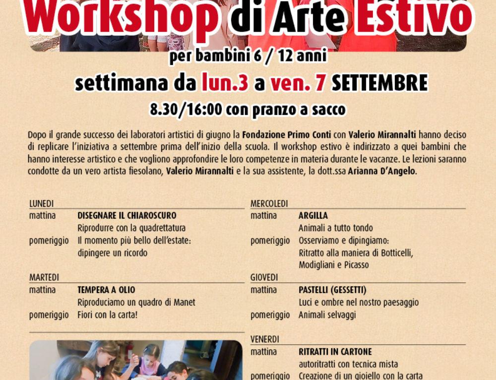 Workshop di arte dal 3 al 7 settembre