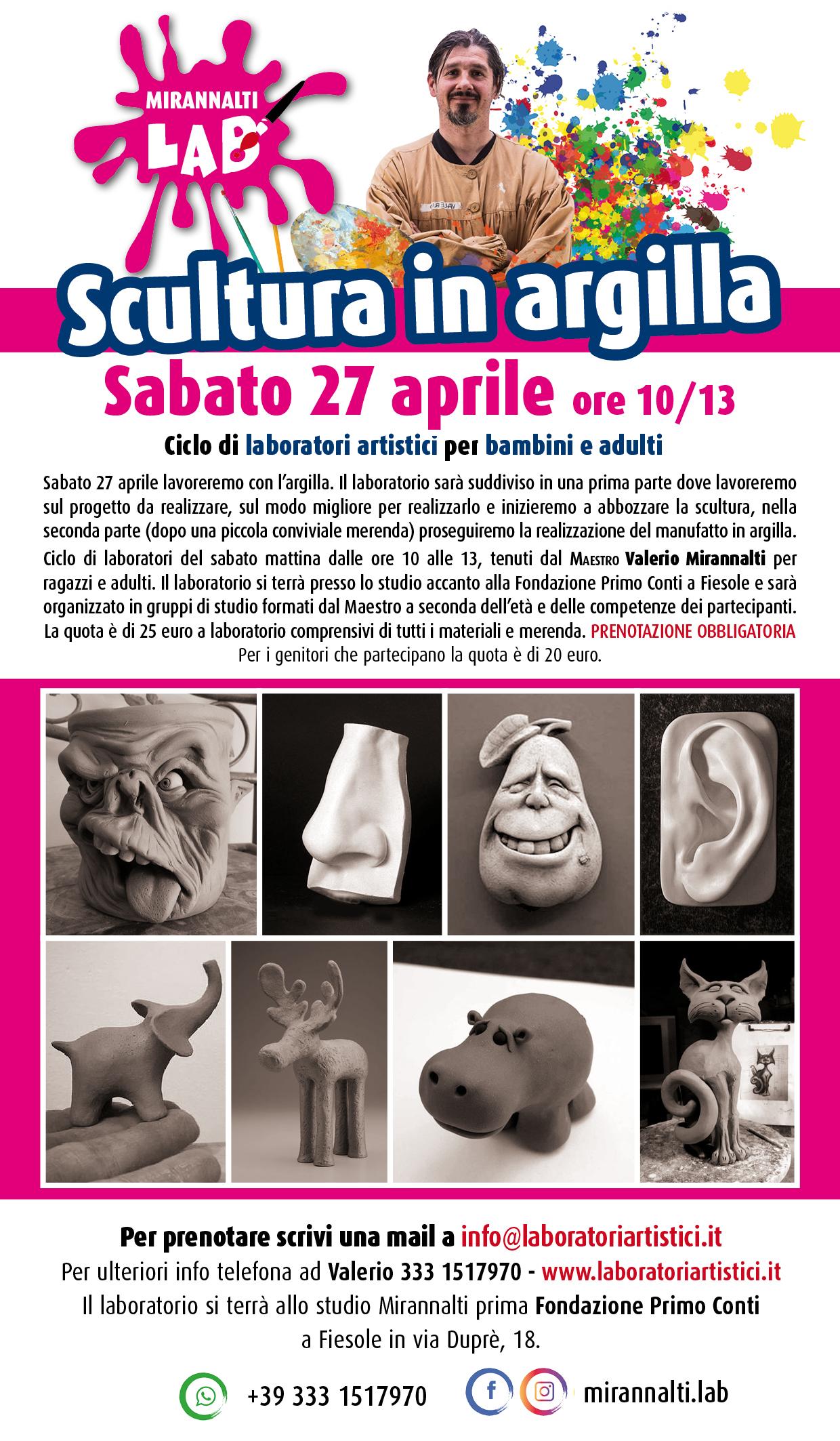Sabato 27 aprile – Scultura in argilla